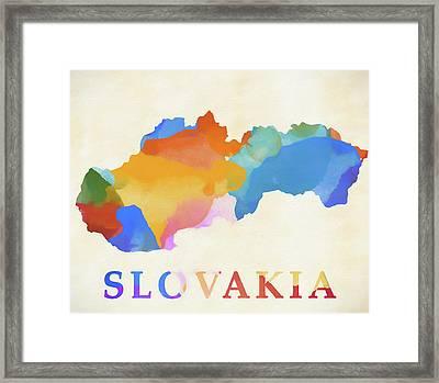 Slovakia Watercolor Map Framed Print