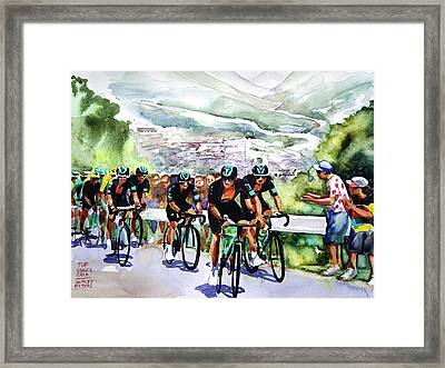 Slow And Steady Team Sky Framed Print by Shirley Peters
