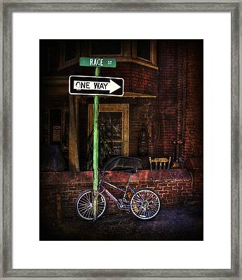 Slow Down On The Race Street Framed Print by Evelina Kremsdorf