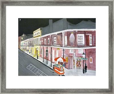 Slow Night On Bourbon St. Framed Print by Cathy Jourdan