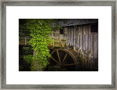 Sluice And Waterwheel At The Old John Cable Grist Mill Framed Print