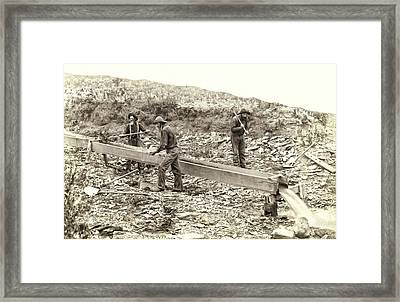 Sluice Box Placer Gold Mining C. 1889 Framed Print by Daniel Hagerman