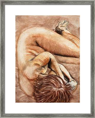 Framed Print featuring the drawing Slumber Pose by Kerryn Madsen-Pietsch