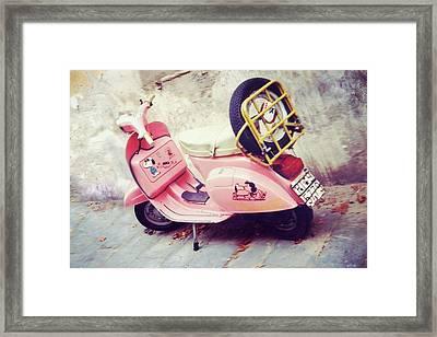 Pink Peanuts Vespa Framed Print