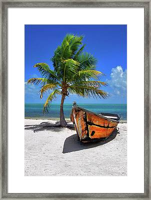 Small Boat And Palm Tree On White Sandy Beach In The Florida Keys Framed Print