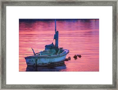 Small Boat At Dawn Havana Cuba  Framed Print