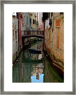 Small Boat On Canal In Venice For Vrooman Framed Print by Michael Henderson