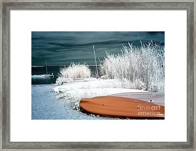Small Boats Infrared Blue Framed Print