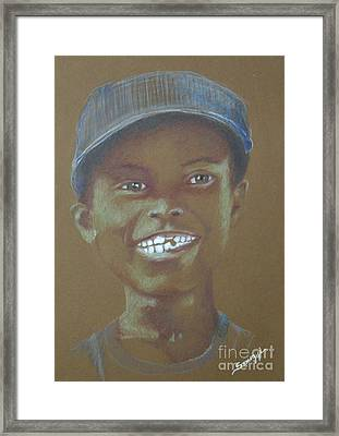 Small Boy, Big Grin -- Retro Portrait Of Black Boy Framed Print