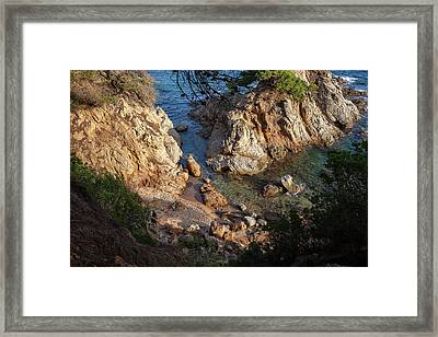 Small Cosy Hidden Beach At Mediterranean Sea  Framed Print by Artur Bogacki