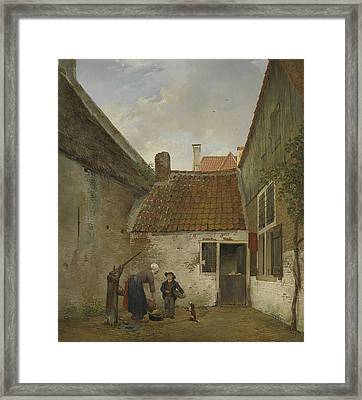 Small Courtyard Framed Print by Andreas Schelfhout