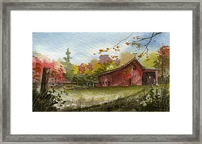 Small Fall Barn Framed Print by Sean Seal