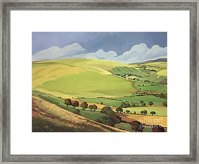 Small Green Valley Framed Print by Anna Teasdale