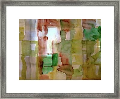 Small Grid In Earth Tones Framed Print by Joan Norris