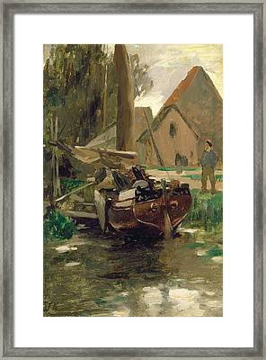 Small Harbor With A Boat  Framed Print by Thomas Ludwig Herbst