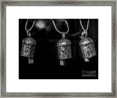 Small Metal Bells - Bw Framed Print by James Aiken