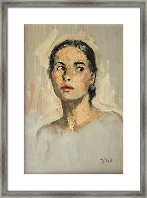 Small Oil Painting Portrait Study Young Woman Framed Print