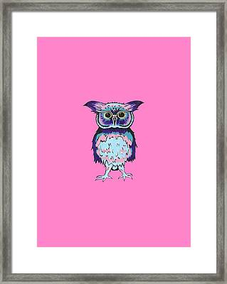 Small Owl Pink Framed Print