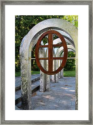 Framed Print featuring the photograph Small Park With Arches by Michiale Schneider