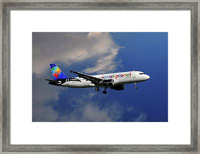 Small Planet Airbus A320-214 Framed Print