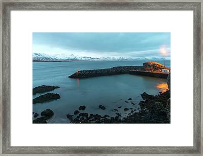 Framed Print featuring the photograph Small Port Near Snaefellsjokull Mountain, Iceland by Dubi Roman