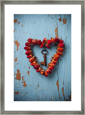 Small Rose Heart Wreath With Key Framed Print by Garry Gay