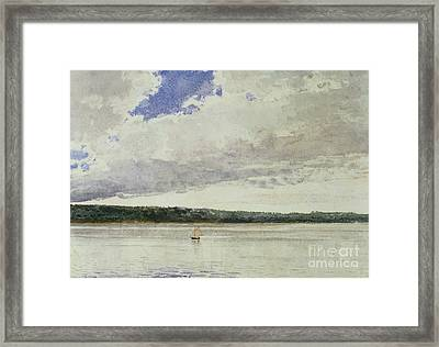 Small Sloop On Saco Bay Framed Print by Winslow Homer