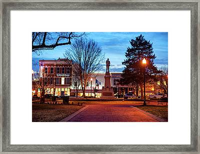 Small Town America Skyline - Downtown Bentonville Square  Framed Print