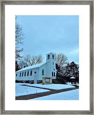 Small Town Church Framed Print by Wild Thing