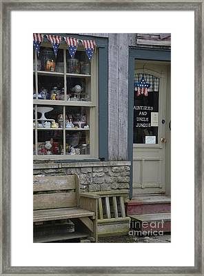 Small Town Shopping Framed Print