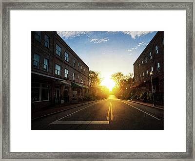 Small Town Street Sunset Framed Print