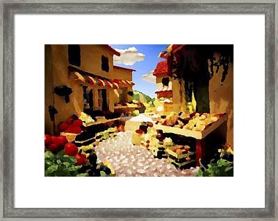 Framed Print featuring the digital art small urban market on Capri island by Dr Loifer Vladimir