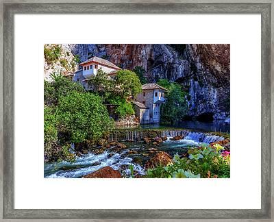 Small Village Blagaj On Buna Waterfall, Bosnia And Herzegovina Framed Print by Elenarts - Elena Duvernay photo