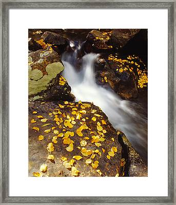 Small Waterfall In Autumn Framed Print by Douglas Pulsipher