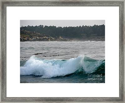 Small Wave On Carmel Bay Framed Print by James B Toy