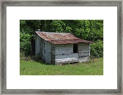 Small White Barn Framed Print
