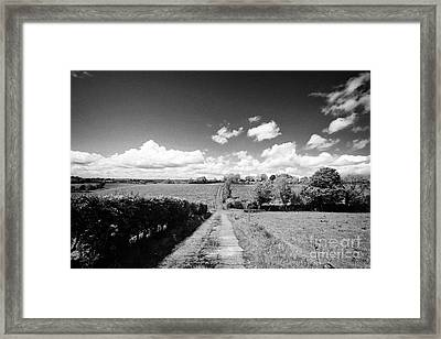 Small Worn Concrete Laneway Leading To Farmland In Rural County Monaghan At Tydavnet Republic Of Ire Framed Print