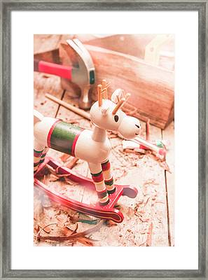 Small Xmas Reindeer On Wood Shavings In Workshop Framed Print