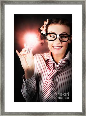 Smart Business Person Holding Light Bulb In Hand Framed Print