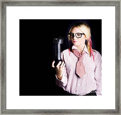 Smart Businesswoman With Oversized Chess Piece Framed Print