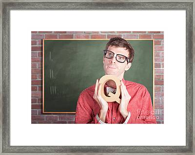 Smart Male School Teacher With Education Question Framed Print