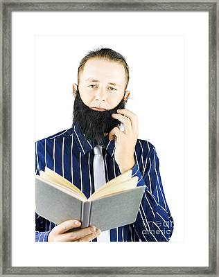 Smart Man Reading Book Of Knowledge Framed Print