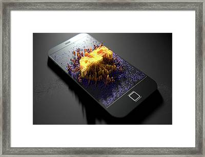 Smart Phone Emanating Augmented Reality Framed Print