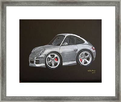Framed Print featuring the painting Smart Porsche by Richard Le Page