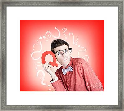 Smart Thinking Men With Q For Question Mark Framed Print by Jorgo Photography - Wall Art Gallery