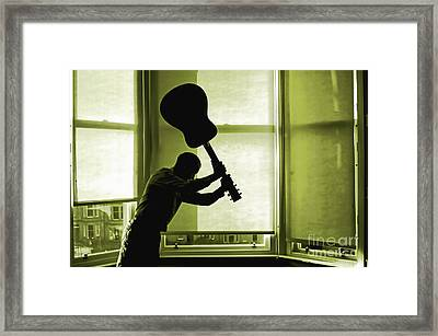 Framed Print featuring the photograph Smashing Up A Guitar by Craig B