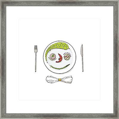 Smiley Face Created With Food On Plate Framed Print