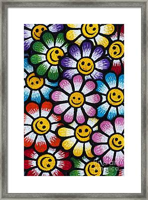 Smiley Flowers Framed Print by Tim Gainey