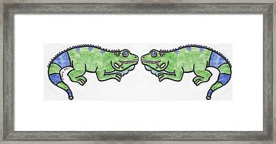 Smiley Iguanas Framed Print by Yshua The Painter