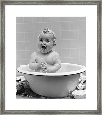 Smiling Baby In Bath, C.1940s Framed Print by H. Armstrong Roberts/ClassicStock